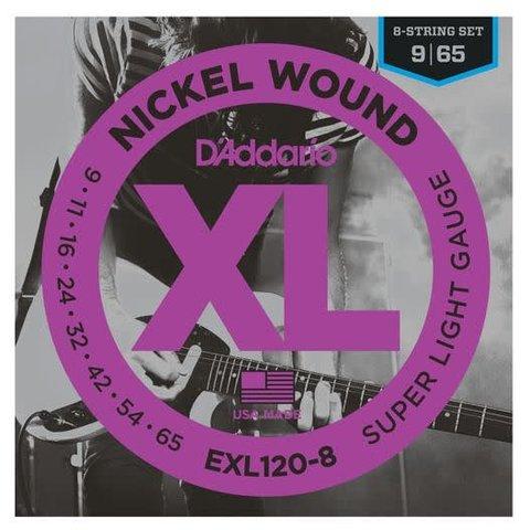 D'Addario EXL120-8 8-String Nickel Wound Electric Strings, Super Light, 9-65