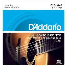 D'Addario D'Addario EJ36 12-String Bronze Acoustic Guitar Strings, Light, 10-47