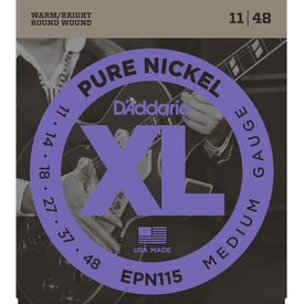 DAddario Fretted D'Addario EPN115 Pure Nickel Blues/Jazz Rock Electric Guitar Strings 11-48