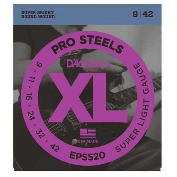 D'Addario D'Addario EPS520 ProSteels Electric Guitar Strings, Super Light, 9-42