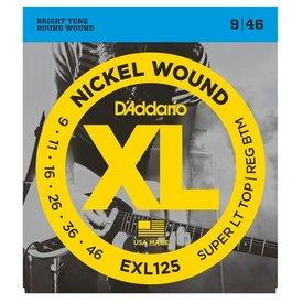 D'Addario Fretted D'Addario EXL125 Nickel Wound Electric, Super Light Top/ Regular Bottom, 9-46