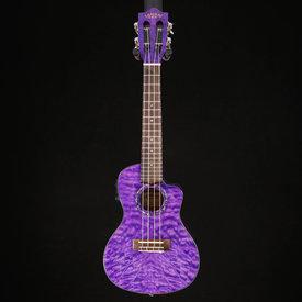 Lanikai Lanikai Quilted Maple Concert Ukulele w Kula Preamp A/E, Purple Stain