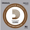 D'Addario PB045 Phosphor Bronze Wound Acoustic Guitar Single String, .045