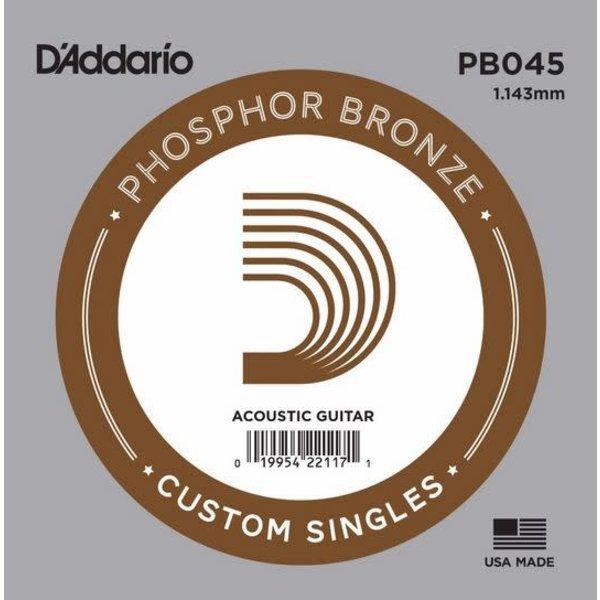 D'Addario D'Addario PB045 Phosphor Bronze Wound Acoustic Guitar Single String, .045