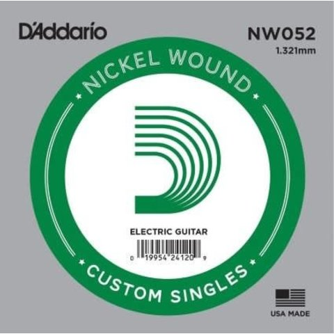D'Addario NW052 Nickel Wound Electric Guitar Single String, .052