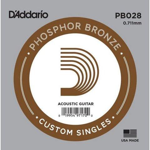 D'Addario PB028 Phosphor Bronze Wound Acoustic Guitar Single String, .028