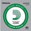 D'Addario NW032 Nickel Wound Electric Guitar Single String, .032