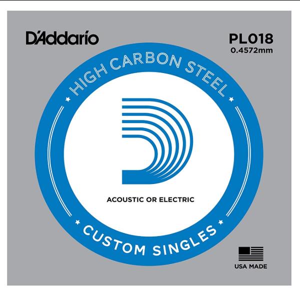 D'Addario D'Addario PL018 Plain Steel Guitar Single String, .018
