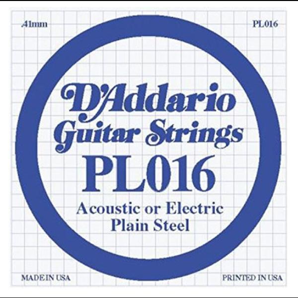 D'Addario D'Addario PL016 Plain Steel Guitar Single String, .016