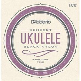 DAddario Fretted D'Addario EJ53C Hawaii/Concert Uke Black Nylon