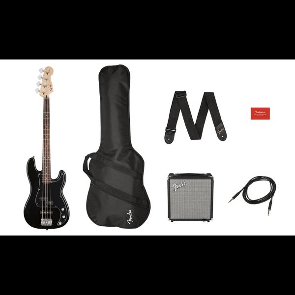 Squier Squier Affinity Series Precision Bass PJ Pack, Laurel Fingerboard, Black, Gig Bag, Rumble 15 - 120V