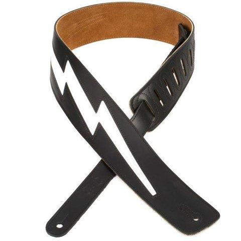 """Levy's DM2-BLK 2.5"""" Top Grain Leather Guitar Strap Black"""