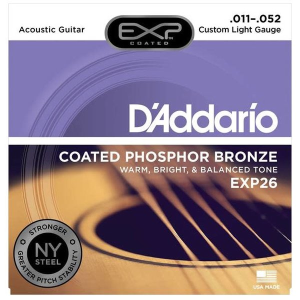 D'Addario D'Addario EXP26 Coated Phosphor Bronze Acoustic Strings, Custom Light, 11-52