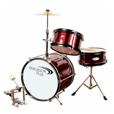 Percussion Plus PPJR3WR 3-Piece Junior Drum Set, Wine Red