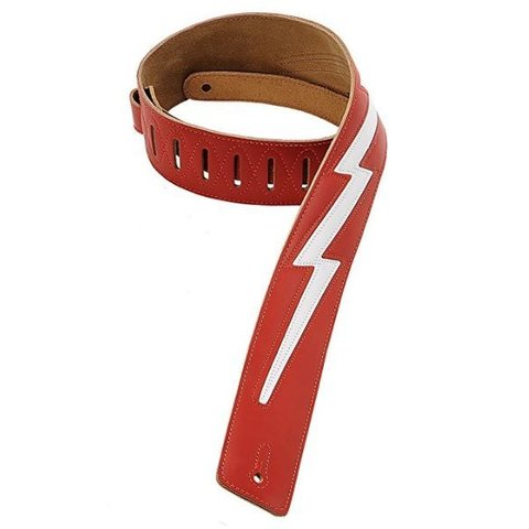 "Levy's DM2-RED 2.5"" Leather Guitar Strap with Leather Lightning"