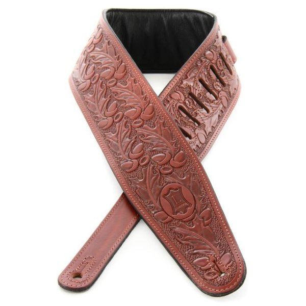 Levy's Leathers Levy's PM44T01-WAL Tooled Carving Leather Guitar Strap Walnut