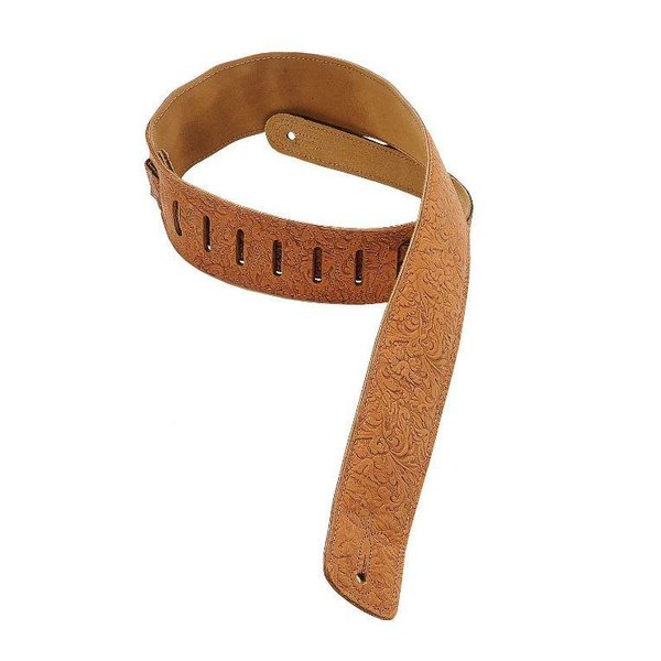 "Levy's Leathers Levy's DM1FF-BRN 2.5"" Garment Leather Guitar Strap w Florentine Embossing Brown"