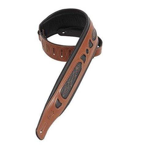 "Levy's PM31-WAL 3"" Carving Leather Guitar Strap with Contrast Walnut"