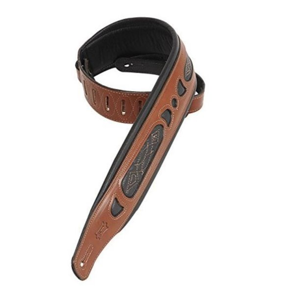 "Levy's Leathers Levy's PM31-WAL 3"" Carving Leather Guitar Strap with Contrast Walnut"
