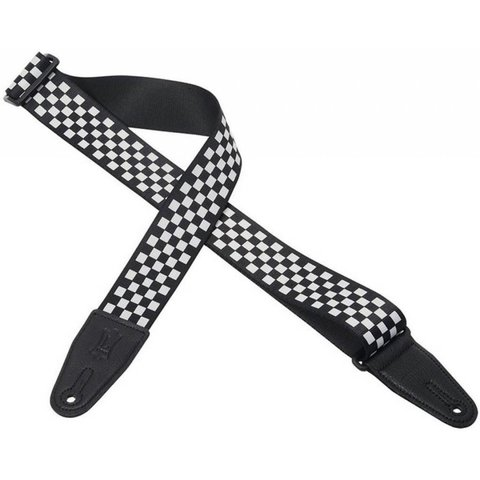 """Levy's MP28 2"""" Polyester Guitar Strap with Black & White Checkered Graphic"""
