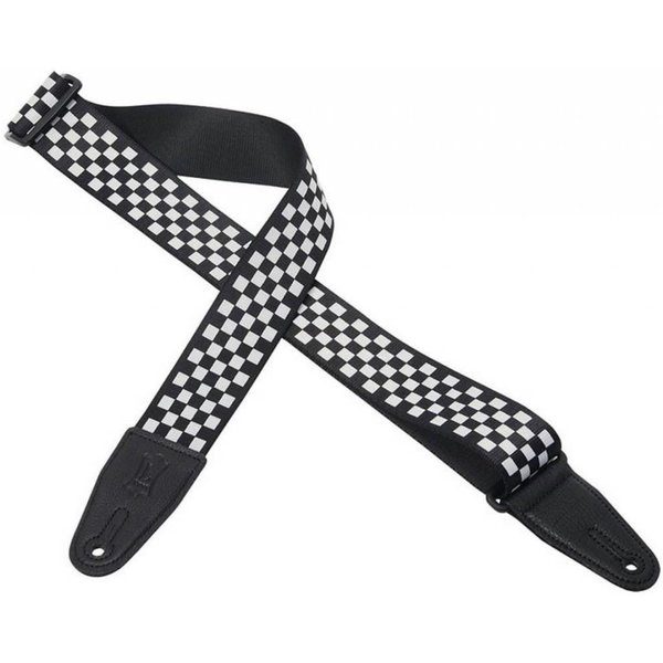 """Levy's Leathers Levy's MP28 2"""" Polyester Guitar Strap with Black & White Checkered Graphic"""