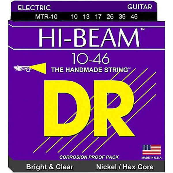 DR Handmade Strings DR Strings MTR-10 Medium HI-BEAM Nickel Plated Electric: 10, 13, 17, 26, 36, 46