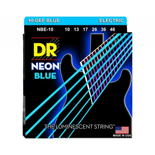 DR Handmade Strings DR Strings NBE-10 Med Hi-Def NEON BLUE: Coated Electric: 10, 13, 17, 26, 36, 46