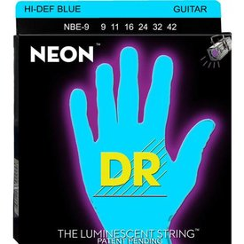 DR Handmade Strings DR Strings NBE-9 Light Hi-Def NEON BLUE: Coated Electric: 9, 11, 16, 24, 32, 42
