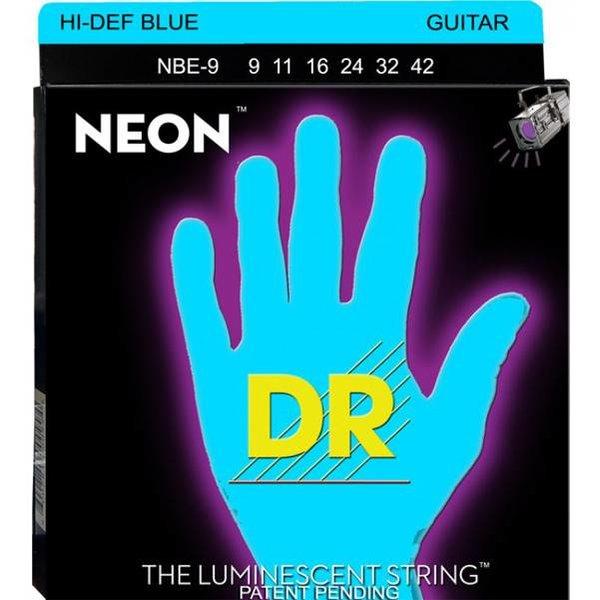 DR Handmade Strings DR Strings NBE-9 Light Hi-Def NEON BLUE: Coated Electric: 9, 11, 16, 24, 32, 42