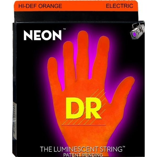 DR Handmade Strings DR Strings NOE-9 Light Hi-Def NEON ORANGE Coated Electric: 9, 11, 16, 24, 32, 42