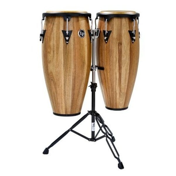 LP LP Aspire 11'' & 12'' Wood Conga Set w/ Double Stand Siam Walnut