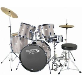 Percussion Plus Percussion Plus 5-Pc Drum Set - Brushed Grey