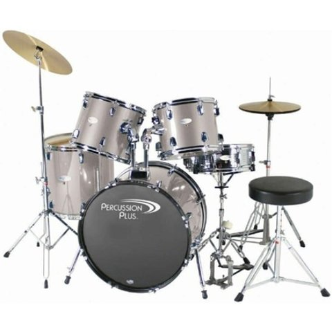 Percussion Plus 5-Pc Drum Set - Brushed Grey