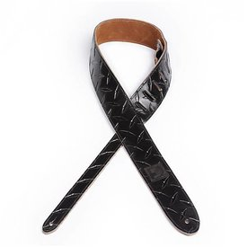 Planet Waves D'Addario 2'' Leather Embossed Guitar Strap Diamond Plate Design - Black