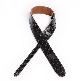 Planet Waves D'Addario 2'' Leather Embossed Guitar Strap Diamond Plate Design - Black