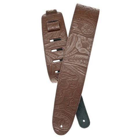 Planet Waves Embossed Leather Guitar Strap, Brown
