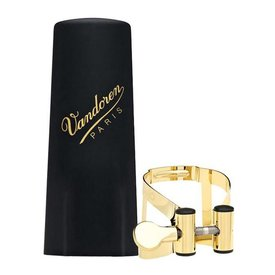 Vandoren Vandoren M|O Ligature and Plastic Cap for Alto Saxophone; Gilded Finish