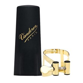Vandoren Vandoren M|O Ligature and Plastic Cap for Soprano Saxophone; Gilded Finish