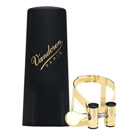 Vandoren M|O Ligature and Plastic Cap for Soprano Saxophone; Gold Plated Plated