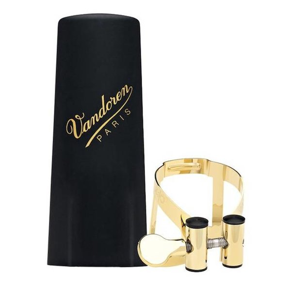 Vandoren Vandoren M|O Ligature and Plastic Cap for Soprano Saxophone; Gold Plated Plated