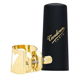 Vandoren Vandoren Optimum Ligature & Plastic Cap for Baritone Sax; Gilded; 3 Interchangeable Pressure Plates