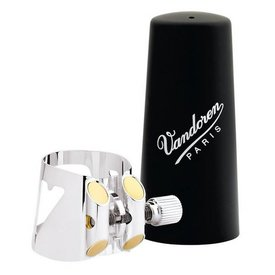 Vandoren Vandoren Optimum Ligature & Plastic Cap for Eb Clar; Slvr-Plated; 3 Interchangeable Pressure Plates