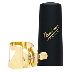 Vandoren Vandoren Optimum Ligature & Plastic Cap for Soprano Sax; Gilded; 3 Interchangeable Pressure Plates