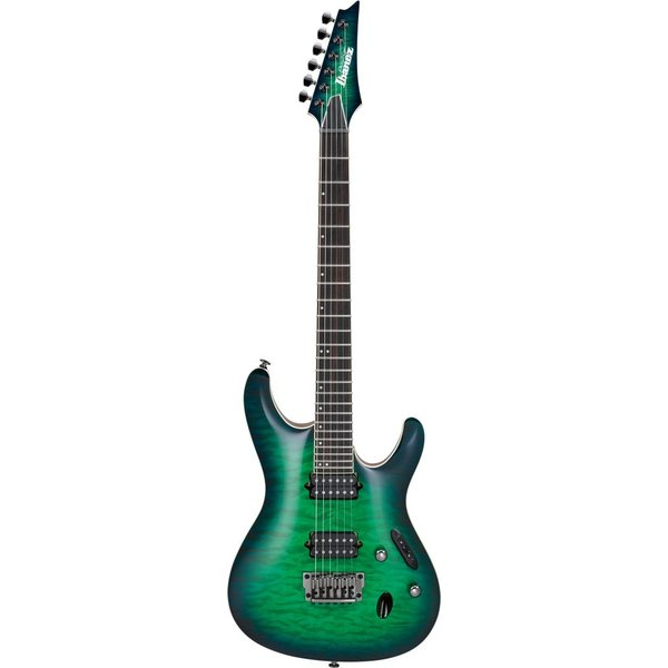 Ibanez Ibanez S6521QSLG S Prestige 6str Electric Guitar w/Case Surreal Blue Burst Gloss