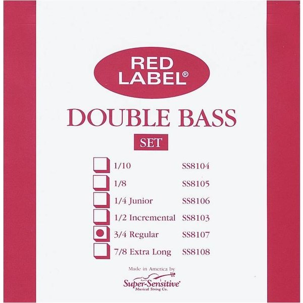 Super Sensitive Super Sensitive Red Label 3/4 Bass String Set