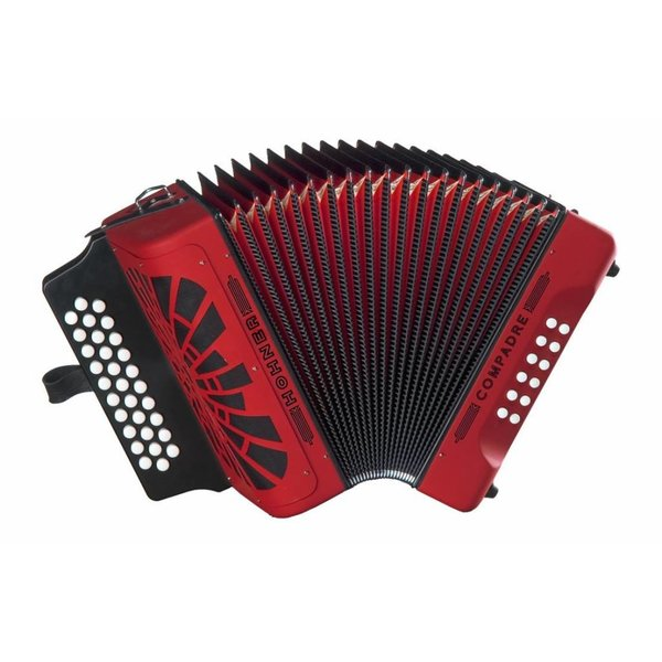 Hohner Hohner COGR Compadre Diatonic Button Accordion G C F Red w/ Gig Bag