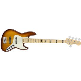 Fender American Elite Jazz Bass V Ash, Maple Fingerboard, Tobacco Sunburst