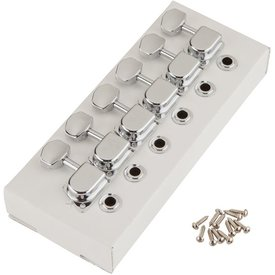Fender 70s ''F'' Style Stratocaster/Telecaster Tuning Machines, Left-Handed Chrome (6)