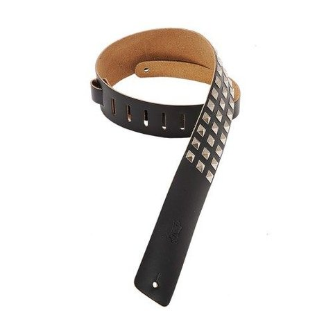 Levy's M1SD-BLK 2 1/2'' Leather Strap w/ Metal Studs Black