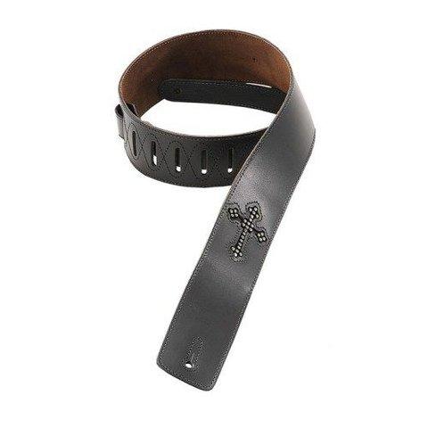 Levy's DM7R-BLK 2 1/2'' Black Leather Strap w/ Rhinestone